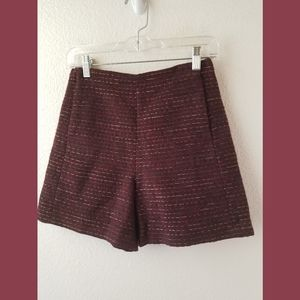 Massimo dutti NWT Maroon Tweed Dressy Shorts Sz 4